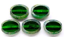 Best.Nr.:67066 Glasperlen / Table Cut Beads  Olive geschliffen mit picasso finish