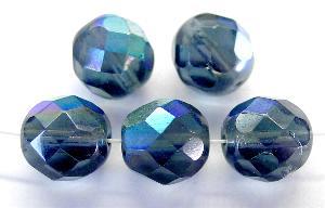 Best.Nr.:28122 facettierte Glasperlen taubenblau transap. mit AB B-Sortierung, hergestellt in Gablonz / Tschechien