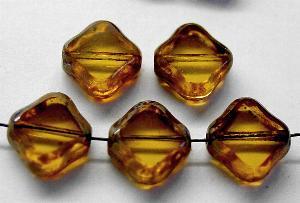 Best.Nr.:67633 Glasperlen / Table Cut Beads geschliffen, topas mit picasso finish,  hergestellt in Gablonz Tschechien