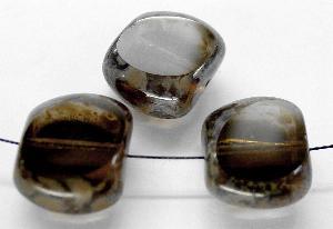 Best.Nr.:67367 Glasperlen / Table Cut Beads geschliffen / rauch mit Travertin-Veredelung