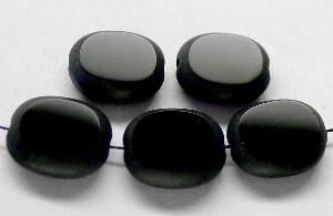 Best.Nr.:67778 Glasperlen / Table Cut Beads Olive geschliffen schwarz, Rand mattiert