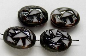 Best.Nr.:67814 Glasperlen / Table Cut Beads Olive geschliffen dunkelbraun weiß, Rand mattiert