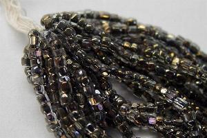 Best.Nr.:62024 3-Cutbeads in den1930/40 Jahren in Gablonz/Böhmen hergestellt kristall mit schwarzen Farbeinzug / Bronze Veredelung