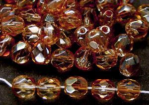 Best.Nr.:28168 facettierte Glasperlen Zweifarbenglas kristall hellbraun mit lüster