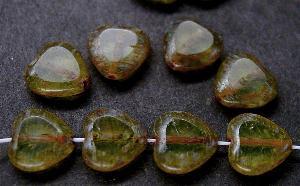 Best.Nr.:67819 Glasperlen / Table Cut Beads Herzen geschliffen mit Travertin-Veredelung