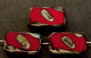 Best.Nr.:671083 Glasperlen / Table Cut Beads dunkelrot geschliffen mit picasso finish