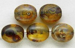 Best.Nr.:46191 Glasperlen Olive flach  mattiert (frostet) mit picasso finish