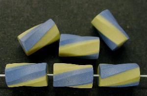 Best.Nr.:75091 vintage Keramikperlen, mattiert um 1960 in Gablonz/Böhmen hergestellt Walze getwistet, blau gelb