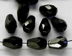 Best.Nr.:26054 facettierte Glasperlen Tropfen schwarz