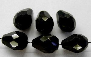 Best.Nr.:26396 facettierte Glasperlen Tropfen schwarz