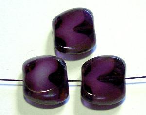 Best.Nr.:67804 Glasperlen / Table Cut Beads violett geschliffen mit Travertin-Veredelung