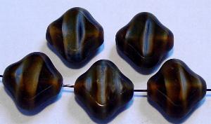 Best.Nr.:67458 Glasperlen / Table Cut Beads tigerauge geschliffen mit Travertin-Veredelung