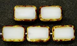 Best.Nr.:67047  Glasperlen / Table Cut Beads  Rechtecke geschliffen,  mit Travertin-Veredelung
