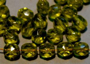 Best.Nr.:27563 Glasperlen facettiert olivgrün transp.,  hergestellt in Gablonz / Tschechien