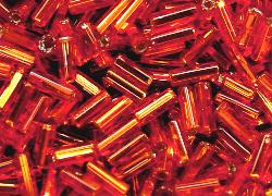Best.Nr.:21037 Glasperlen / Stiftperlen  von Preciosa Tschechien hergestellt, orange mit Silbereinzug