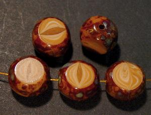 Best.Nr.:67550 Glasperlen / Table Cut Beads geschliffen, camel mit picasso finish, hergestellt in Gablonz Tschechien
