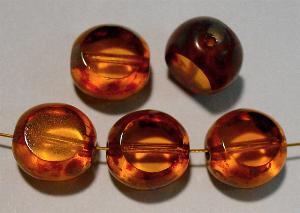 Best.Nr.:67985 Glasperlen / Table Cut Beads geschliffen, topas mit Travertin-Veredelung
