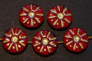 Best.Nr.:59024 Vintage style Glasperlen, nach alten Vorlagen neu gefertigt dunkelrot mit Goldauflage