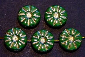 Best.Nr.:59023 Vintage style Glasperlen, nach alten Vorlagen neu gefertigt Perlettglas grün mit Goldauflage