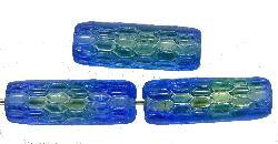 Best.Nr.:48029 Glasperlen Stäbchen  blau/grün, hergestellt in Gablonz / Tschechien Zweifarbenglas