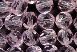 Best.Nr.:27229 facettierte Glasperlen rosa transp., hergestellt in Gablonz / Tschechien