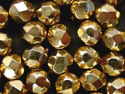 Best.Nr.:24112 facettierte Glasperlen metallic mit Wachsüberzug goldgelb, hergestellt in Gablonz / Tschechien