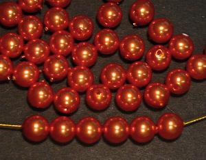 Best.Nr.:58118 Glasperlen mit Wachsüberzug rund rotgold