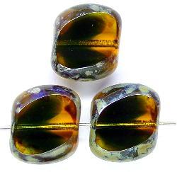 Best.Nr.:67158 Glasperlen / Table Cut Beads geschliffen mit Travertin-Veredelung
