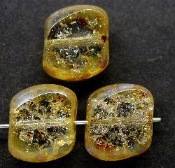 Best.Nr.:67157 Glasperlen / Table Cut Beads geschliffen mit Travertin-Veredelung crash beads