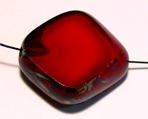 Best.Nr.:67769 große Glasperle / Table Cut Bead geschliffen dunkelrot mit picasso finish