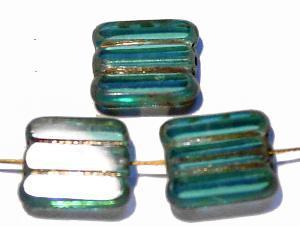 Best.Nr.:67885 Glasperlen / Table Cut Beads türkis transparent, geschliffen mit picasso finish