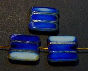 Best.Nr.:67478 Glasperlen / Table Cut Beads blau weiß, geschliffen mit picasso finish