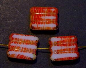 Best.Nr.:67328 Glasperlen / Table Cut Beads orange weiß, geschliffen mit picasso finish
