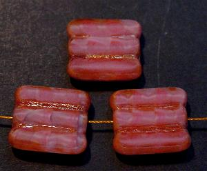 Best.Nr.:67869 Glasperlen / Table Cut Beads Perlettglas altrosa, geschliffen mit picasso finish