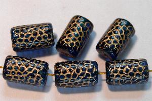 Best.Nr.:59135 vintage style Glasperlen, Schlangenperle Körper, nach alten Vorlagen aus den 1920 Jahren neu gefertigt, montana blau mit Goldauflage