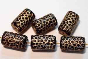 Best.Nr.:59120 vintage style Glasperlen, Schlangenperle Körper, nach alten Vorlagen aus den 1920 Jahren neu gefertigt, schwarz opak mit Goldauflage