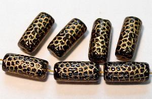 Best.Nr.:59099 vintage style Glasperlen, Schlangenperle Körper, nach alten Vorlagen aus den 1920 Jahren neu gefertigt, schwarz opak mit Goldauflage