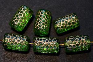 Best.Nr.:59133 vintage style Glasperlen, Schlangenperle Körper, nach alten Vorlagen aus den 1920 Jahren in Gablonz / Tschechien neu gefertigt, grün transparent mit Goldauflage