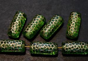 Best.Nr.:59142 vintage style Glasperlen, Schlangenperle Körper, nach alten Vorlagen aus den 1920 Jahren neu gefertigt, grün transparent mit Goldauflage