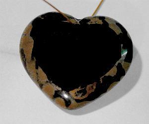 Best.Nr.:671124 Glasperlen / Kettenanhänger   Table Cut Beads Herzen geschliffen schwarz mit picasso finish