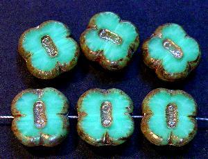 Best.Nr.:671117 Glasperlen / Table Cut Beads grün, geschliffen mit picasso finish