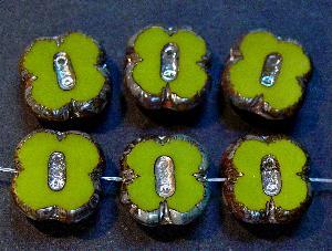 Best.Nr.:671116 Glasperlen / Table Cut Beads olivgrün, geschliffen mit picasso finish