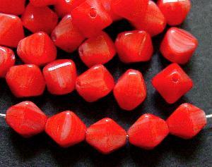 Best.Nr.:54102 Glasperlen Doppelpyramide vierkantig rot meliert