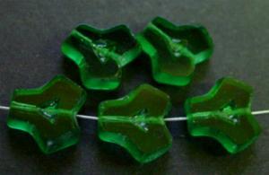 Best.Nr.:67862 Glasperlen / Table Cut Beads geschliffen, Rand der Perlen mattiert, grün transparent