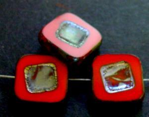 Best.Nr.:67698 Glasperlen / Table Cut Beads rot opak, geschliffen mit picasso finish