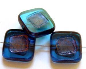 Best.Nr.:67654 Glasperlen / Table Cut Beads montanablue, geschliffen mit bronze finish,