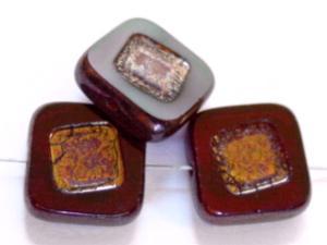Best.Nr.:67697 Glasperlen / Table Cut Beads granatrot, geschliffen mit bronze finish,