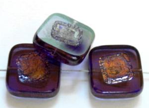 Best.Nr.:67634 Glasperlen / Table Cut Beads violett, geschliffen mit bronze finish,