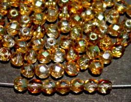 Best.Nr.:28043 Glasperlen mit Facettenschliff,  kristall topas mit lüster, hergestellt in Gablonz / Tschechien