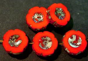 Best.Nr.:67050 Glasperlen / Table Cut Beads orangerot opak, Blüten geschliffen mit picasso finish
